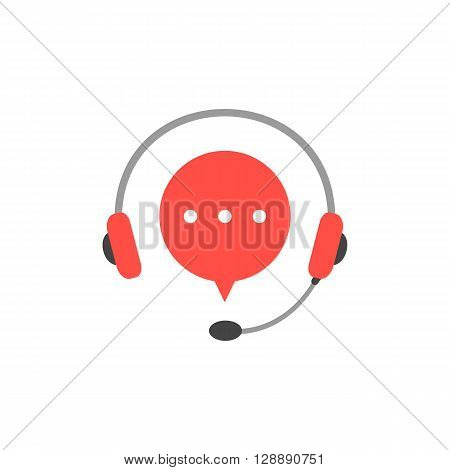 headphone with microphone and red speech bubble. concept of consultation, e-commerce, live marketing, all day hotline. isolated on white background. flat style modern logotype design illustration