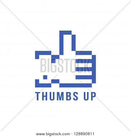 retro pix element thumbs up icon. concept of 8bit video game, social network, blogging, confirmation. isolated on white background. pixelart style trendy modern logotype design vector illustration