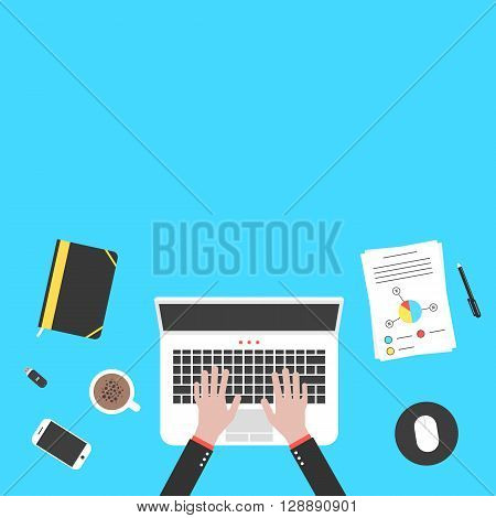 hands and office objects on blue desk top. concept of teamwork, audit, coworking center, freelancer, distant work. isolated on blue background. flat style trendy modern design vector illustration