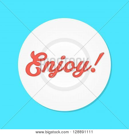 red enjoy text like sauce on white plate. concept of haute cuisine, dressing, cooking, condiment, fastfood, catsup. isolated on blue background. flat style trendy modern design vector illustration