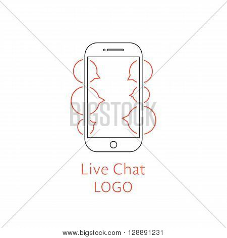 live chat logotype with outline black smartphone. concept of company mark, gadget, online conversation, discussion. isolated on white background. flat style modern brand design vector illustration