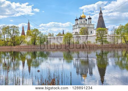 Joseph-Volokolamsk Monastery reflecting in pond Moscow region Russia