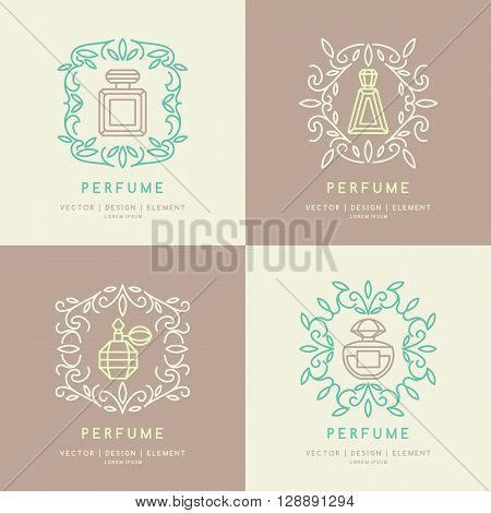 Set. A classic bottle of perfume. Vector illustration. Linear image perfume to monogram. Floral monogram