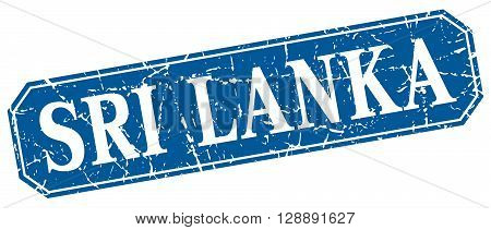 Sri Lanka blue square grunge retro style sign