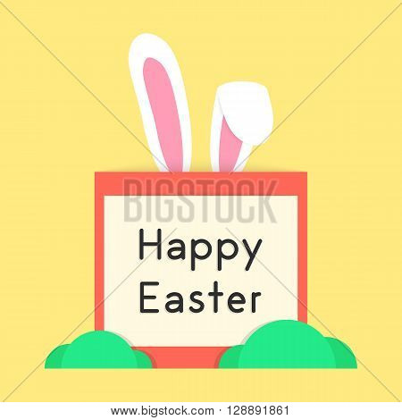 happy easter with rabbit ears and bushes. concept of festival, catholic feast, surprise, interactive postcard. isolated on yellow background. flat style trendy modern design eps10 vector illustration