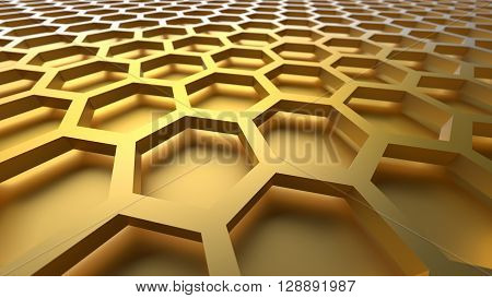 3D yellow color abstract cellular lattice background