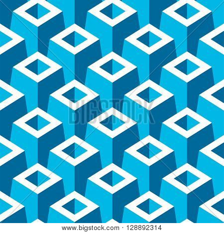 Vector seamless pattern with 3D pyramid boxes