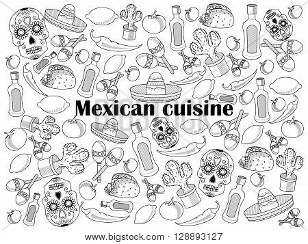 Mexican cuisine design colorless set vector illustration. Coloring book. Black and white line art