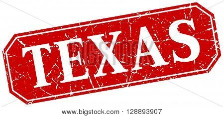 Texas red square grunge retro style sign