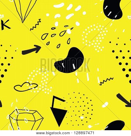 Simple Seamless Doodle Pattern In Kitsch, Primitivism, Minimal S