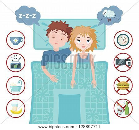 Sleepless woman character counting sheep and sleeping man character with good dream. Sleep and insomnia flat icons.  Vector illustration. Sleeping concept