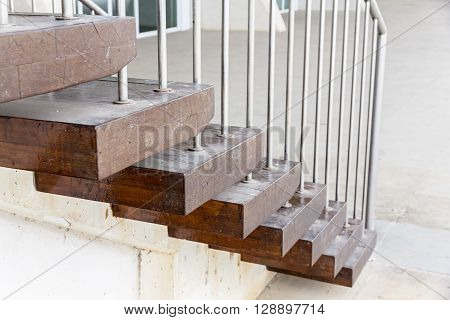 Close-up Of Staircase With Wooden Steps