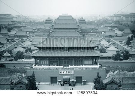 Aerial view of Imperial Palace in black and white in Beijing, China.