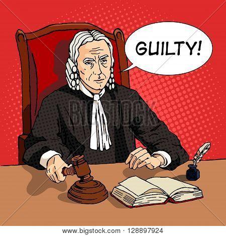 Judge verdict cartoon pop art vector illustration. Human comic book vintage retro style.