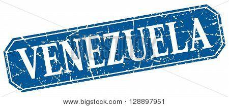 Venezuela blue square grunge retro style sign