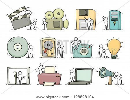Electronic icons set of sketch working little people with computer camera. Doodle cute miniature scenes of workers with gadgets. Hand drawn cartoon vector illustration for business design and infographic.