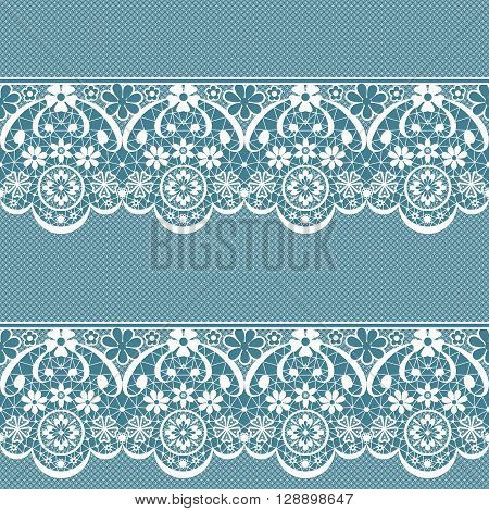 White seamless lace pattern on blue background texture