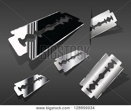 Vector set of realistic images of a razor blade