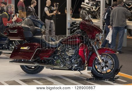 BRNO, CZECH REPUBLIC-MARCH 4, 2016: Motorcycle Harley Davidson Touring Ultra Limited Low at International Fair for Motorcycles on March 4, 2016 in Brno in Czech Republic.