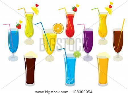 Vector set of isolated colorful, fresh, fruit juices, alcohol cocktails, beer and cola. Vector illustration on white background.