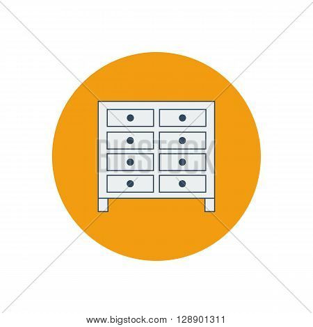 Bachelors chest illustration. Furniture icon. Chest of drawers. Vector illustration