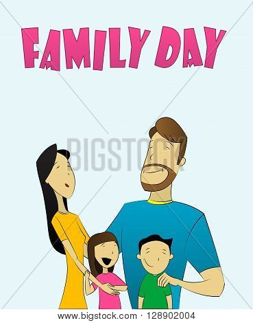 illustration of family with father, mother, daughter and son. Conceptual image of  complete, full  family, interracial family, family day, happy family. Vector