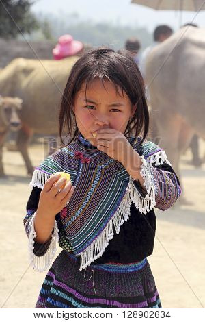 Lao Cai lmarket,  Sa Pa , Vietnam, 25 April 2015: Yang girl in local market from the Colored Hmong ethnic group