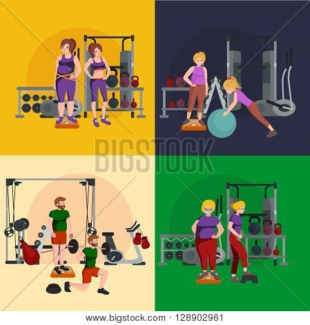 before and after weight loss peoples, men and women, concept fitness vector illustration