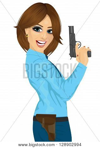 Attractive police woman holding a handgun on white background