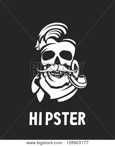 vector work hipster portrait of a man with a pipe in black white