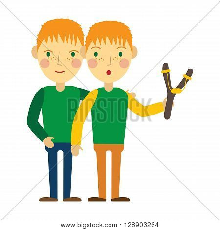Redhead twin boys with slingshot and freckles. Flat designed vector illustration.