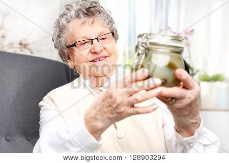 Grandma's preserves, delicious place the jars for the winter
