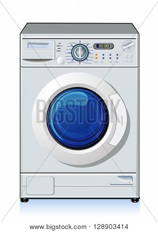 Automatic washing machine, vector art illustration of home appliances.