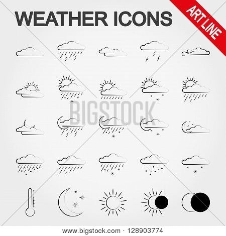 Weather art line icon set for web and mobile application. Vector illustration on a white background.