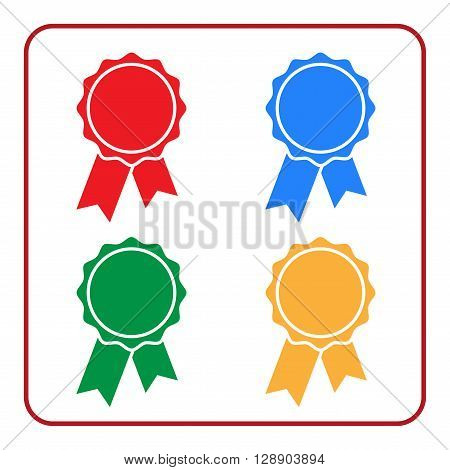 Ribbon award icons set. Blue red green yellow rosette badge on white background. Medal design element. Flat label emblem. Blank certificate. Symbol victory prize winner best. Vector illustration