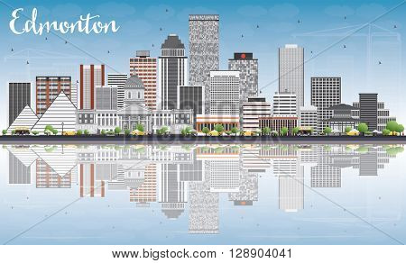 Edmonton Skyline with Gray Buildings, Blue Sky and Reflections. Vector Illustration. Business Travel and Tourism Concept with Modern Buildings. Image for Presentation Banner Placard and Web Site.