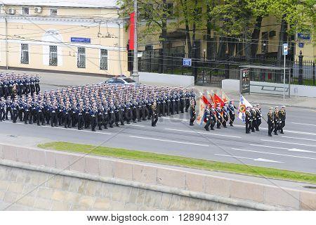 Sailors Marching Formation For Moskvoretskaya Waterfront