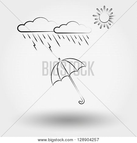 Rainy weather with clouds and umbrella. Weather  icons set for web and mobile application. Vector illustration on a white background.