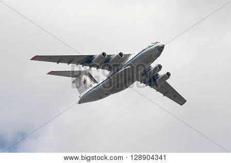 Soviet Cargo Plane Ilyushin Il-76 Flying Over The Red Square