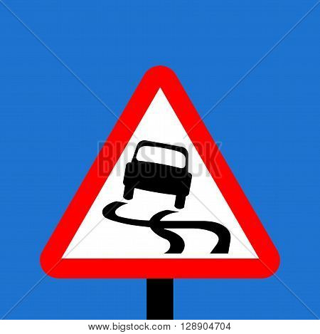 A Warning triangle Slippery road traffic sign
