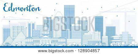 Outline Edmonton Skyline with Blue Buildings. Vector Illustration. Business Travel and Tourism Concept with Modern Buildings. Image for Presentation Banner Placard and Web Site.