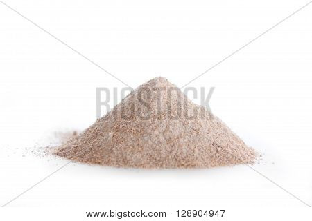 Natural whole wheat flour on white background
