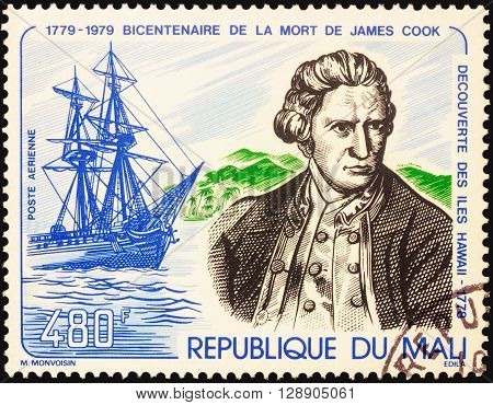 MOSCOW RUSSIA - MAY 03 2016: A stamp printed in Mali shows Captain James Cook and his ship