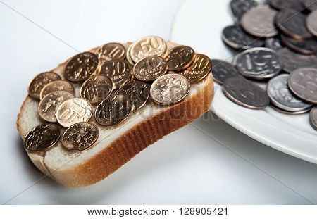 Plate with coins and a slice of bread with coins ** Note: Shallow depth of field