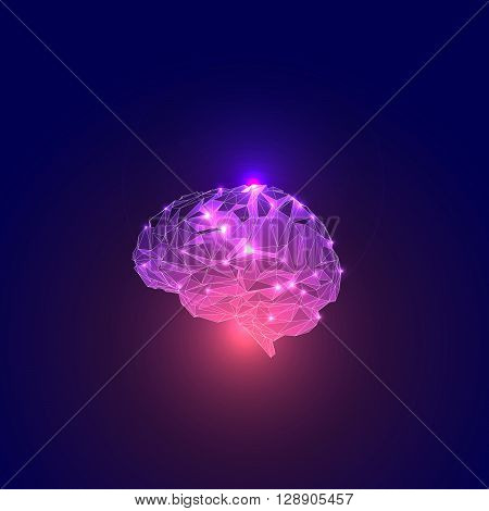 Abstract Human Head with  Brain. Human Brain Illustration. Vector Abstract Brain. Concept of the Human Brain