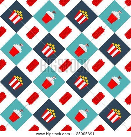 Movie Cinema seamless pattern background. Isolated white background. Can be used for wrapping paper