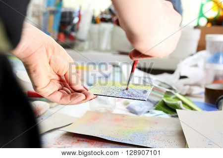 Workshop artistic, painting pigments Color palette, color picker