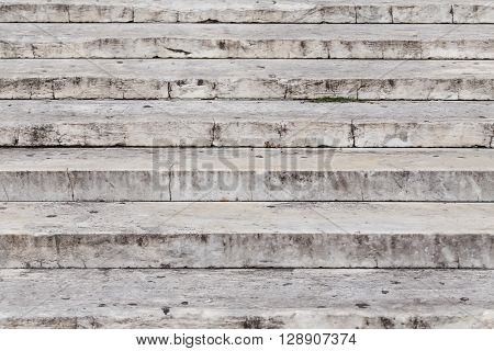 Close up on granite stairs details - front view