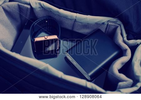 Smart Wrist Watch And Powerbank Charger In Travel Bag