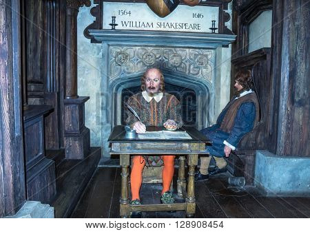 LONDON UK -JUNE 72015: Wax figure of world-famous British writer William Shakespeare at Madame Tussauds museum.
